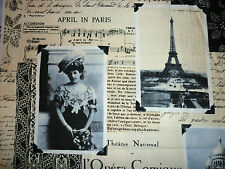 CLEARANCE   FQ PARIS EIFFEL MUSIC OLD FASHIONED PICTURES FABRIC VINTAGE
