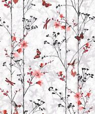 Muriva Eden Wallpaper 102551 - Feature Wall Floral Butterfly Bird Foliage Red
