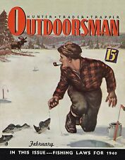 Ice Fishing Vintage Magazine Cover Poster Art Bass Fishing Lures Reels  MAG43