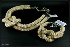 SUZIE BLUE. LIGHT BROWN GLASS SEED BEAD & SILVER KNOT NECKLACE & BRACELET SET.
