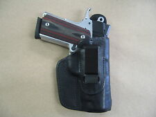 "1911 Compact 3-3.5"" IWB Leather In The Waistband Concealed Carry Holster Black"
