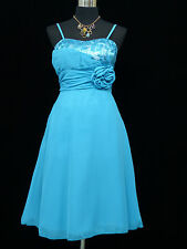 Cherlone Chiffon Blue Prom Ball Evening Wedding Bridesmaid Knee Length Dress 12