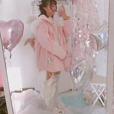 Sweet Lolita Pink Winter Japanese Harajuku Princess Padded Jacket Coat Hoodie
