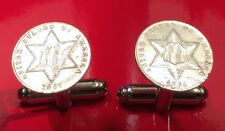 US Shield in Star 3 Cents Silver Tone Small Patriotic Coin Cufflinks + Gift Box!