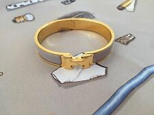Hermes Clic Clac Bangle Bracelet Gold/Taupe PM