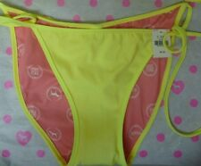 NWT Victoria's Secret PINK SWIM M Medium yellow bikini bottom tie sides ruched