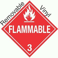 Standard Worded Flammable Class 3 Removable Vinyl Placard (PACK OF 50)