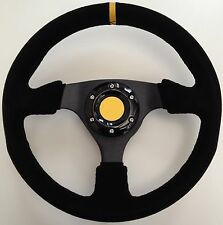 SUEDE RACING FLAT SPORTS CAR STEERING WHEEL WITH YELLOW CARBON FIBRE WRAP HORN