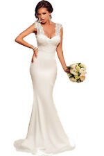 Sexy Elegant White Wedding Dress Gown Embroidered Lace Mermaid Full Length Floor