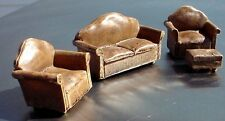Brown Leather Miniature Couch Set (4 Pc) - Couch 2 Chairs Ottoman 1/24 Scale G