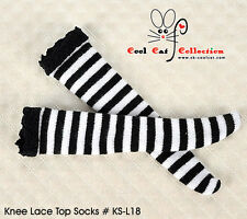 ☆╮Cool Cat╭☆【KS-L18】Blythe/Pullip Knee Lace Top Doll Socks # Stripe B/W