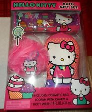 Hello Kitty 3 Piece Bath Gift Set - Cosmetic Bag, Loofah Scrub, Body Wash
