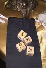 Vintage Look Wooden Futhark Runes Divining Dice with Bag