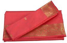 INDIAN ART SILK SARI SAREE WOVEN GOLDEN WITH BLOUSE PIECE PAISLEY DESIGN DECOR