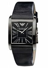 New Emporio Armani Black Steel Leather Women Dress Slim Watch 30x38mm AR2027