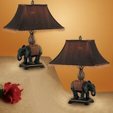 Set of 2 Table Lamp Elephant Draped in a Persian Rug Wide Square Fringed Shade
