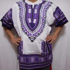 African Shirt Men Women top Poncho Dashiki Hippy Blouse White Purple One size