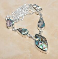 """Handmade Mother of Pearl Abalone Shell 925 Sterling Silver Necklace 18"""" #N00071"""