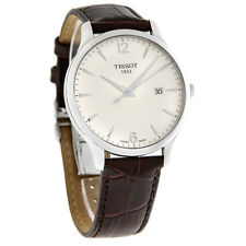 Tissot Mens Tradition White Dial Brown Leahter Strap Watch T063.610.16.037.00
