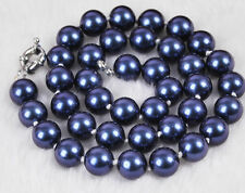 "10mm South Dark Blue Shell Pearl Round Beads Necklace 18"" AAA  k77"