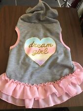 Dog Hoodie Size Medium/Large Gray With Pink Trim Dream Girl