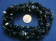 """Beautiful black obsidian chip beads 36"""" strand 6-12mm med sized beads  bs028"""