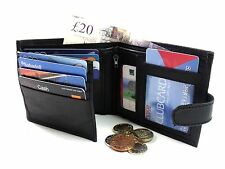 MENS HIGH QUALITY GENUINE BLACK LEATHER HOLDS 12 CREDIT CARDS WALLET PURSE
