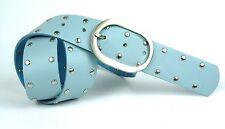 GT2-73 Nietengürtel Gürtel Leder Nieten blau 85 cm Jeansgürtel Hosengürtel NEU