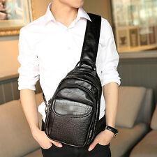 2016 Men PU Leather Crocodile Grain Sling Pack Chest Bag Shoulder Messenger Bag
