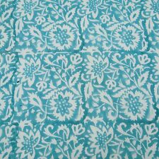Indian Blue Cotton Voile Fabric Sewing Hand Block Print Craft Material By 1Metre