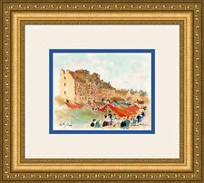 Urbain HUCHET Original Color Lithograph Rennes France Marketplace FRAMED S/N COA