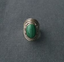 Top quality solid sterling silver bali style Malachite cabochon ring size M 1/2