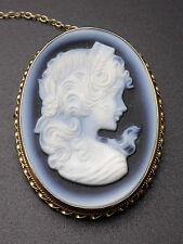 Ancienne très belle broche médaillon camée pate de verre monture or 9k 375