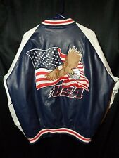 varsity jacket eagle usa american flag red white blue steve and barrys xl