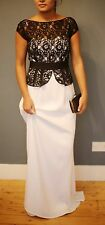 Designer Mikael Aghal Black and While Lace and Jersey Evening Gown size 8