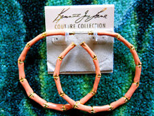 Kenneth Jay Lane Large Gold & Coral Enamel Bamboo Hoop Pierced Earrings