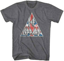 Def Leppard-Distressed Brit Logo-X-Large Charcoal Heather  Cotton Blend T-shirt