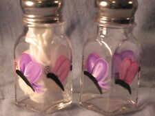 Set of 2 oz Hand Painted Pink and Purple Butterfly Salt and Pepper Shakers