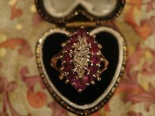 Beautiful Vintage; Glittering Red Ruby Gems & Sparkling Diamond 9CT Gold Ring