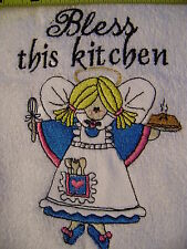 Free personalizing Custom machine  embroidered Kitchen Angel- Bless this kitchen