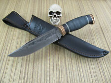 Olamic Cutlery Custom Hand Made Damascus Voykar HT4 Fighter  W/Leather Sheath