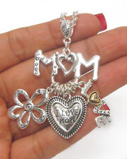 NECKLACE MOM I Love Mom Heart Flower 2 Tone Religious Charm Necklace