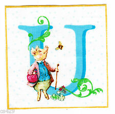 "3.5"" BEATRIX POTTER WALL LETTER U NURSERY ALPHABET ABC  WALL SAFE FABRIC DECAL"
