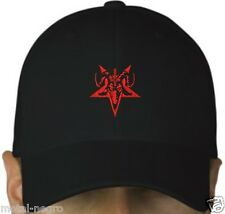 RED BAPHOMET PENTAGRAM GOAT EMBROIDERED BLACK CAP HAT SATAN 666 Metal Negro