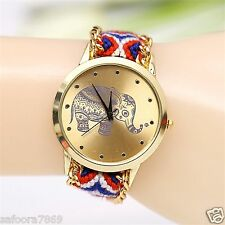 Fashion Women New Geneva Ethnic Braided Analog Quartz Bracelet Wrist Watch- ELEP