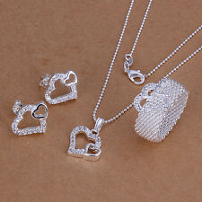 925 Sterling Silver Double Heart Earring&Ring&Necklace Set ZBS181