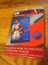 STAR WARS Rebel Alliance Movie 8 Thank You Cards Party Disney Postcards Seals