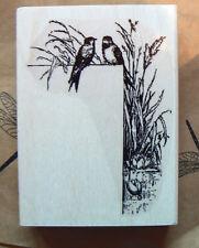 P4  Bird art border rubber Stamp WM