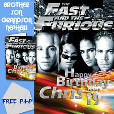 FAST AND FURIOUS - PERSONALISED Birthday Card Son Brother Nephew Grandson