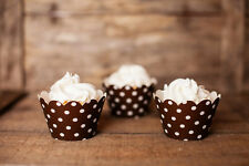 Brown Polka Dot Cupcake Wrappers, Set of 12